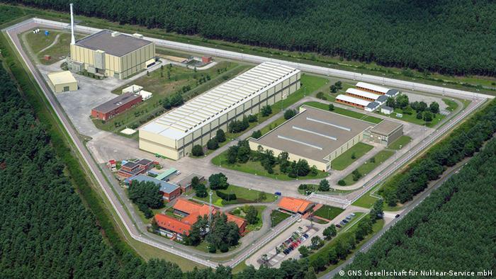 Luftaufnahme des Zwischenlagers für schwach-, mittel- und hochradioaktiven Atommüll. Copyright: Archivaufnahme: GNS Gesellschaft für Nuklear-Service mbH, Rechtefrei für DW.