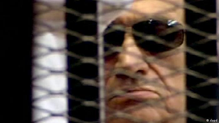 حسنی مبارک در جریان محاکمهی خود در دادگاه