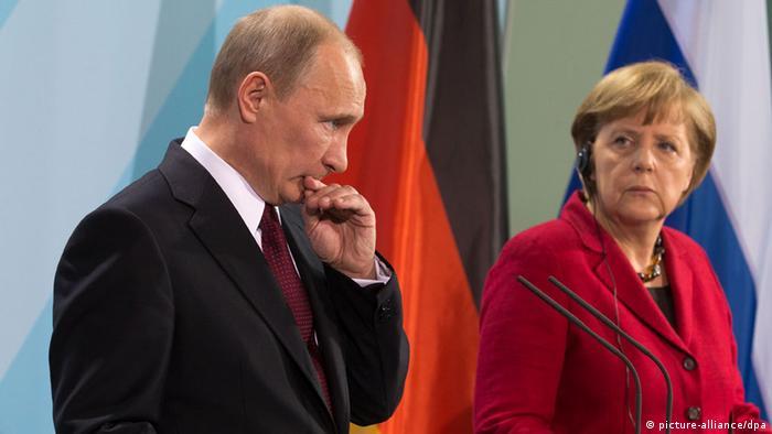 Путин и Меркель на пресс-конференции в Берлине 1 июня 2012 года