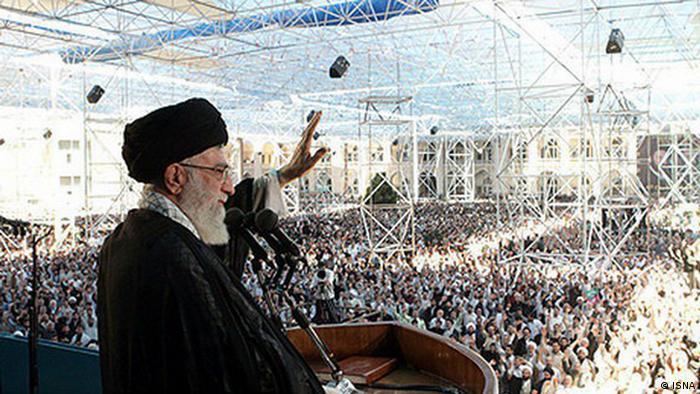 Titel: Seyed Ali Khamenei , Führer der Islamische  Republik Iran , während einer Rede in Teheran am 03.06.2012  Quelle: ISNA