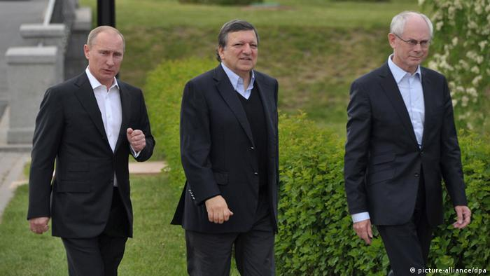 Russian President Vladimir Putin, European Commission President Jose Manuel Barroso and President of the European Council, Herman Van Rompuy