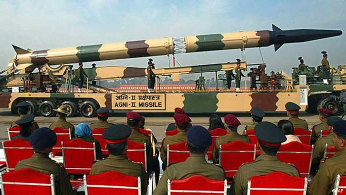 Indian army soldiers watch the display of an Agni-2 missile during an Army Day parade in New Delhi, India, in this Thursday, Jan. 15, 2004 file photograph (AP Photo/Gurinder Osan)