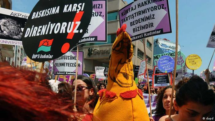 Abortion rights demonstrators protest in Turkey on June 3, 2012. The banner at left reads: We resist against pressure.