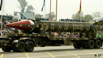 Pakistan-made missile Ghauri, which has range of 1,500 kilometers (900 milies) capable of carrying nuclear war head, is on display during the Pakistan National Day parade in Islamabad, Pakistan on Wednesday, March 23, 2005 in Islamabad, Pakistan (Photo: ddp images/AP Photo/B.K.Bangash)