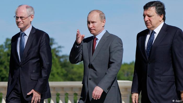 Президент России Владимир Путин, глава Еврокомиссии Жозе Мануэл Баррозу и председатель Европейского совета Херман Ван Ромпей