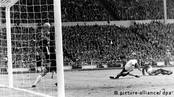 England's third, controversial goal in the 1966 World Cup against West Germany - England won 4-2 after extra time