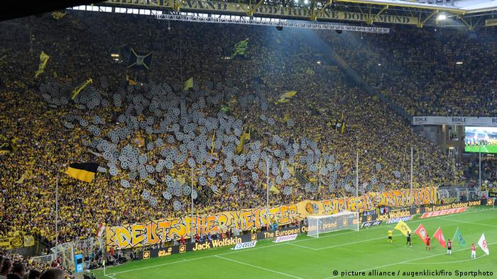 Fans on the Südtribune at Borussia Dortmund's Signal Iduna Park stadium
