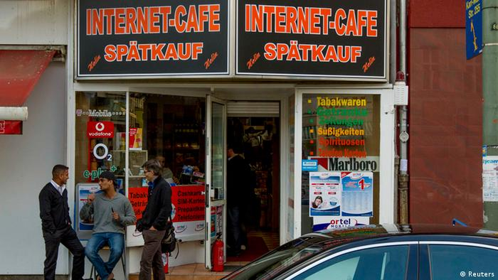 The internet cafe where police detained Canadian murder suspect Luka Rocco Magnotta in Berlin, June 4, 2012.