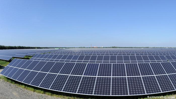 A huge solar park in Senftenberg, Germany Copyright: Bernd Settnik dpa/lbn