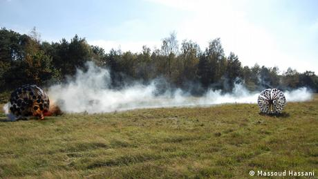 An explosion on a field