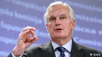 European Commissioner for Internal Market and Services Michel Barnier addresses the media on the access to finance for small and medium-sized enterprises and for social businesses, at the European Commission headquarters in Brussels, Wednesday, Dec. 7, 2011. (Foto:Yves Logghe/AP/dapd)