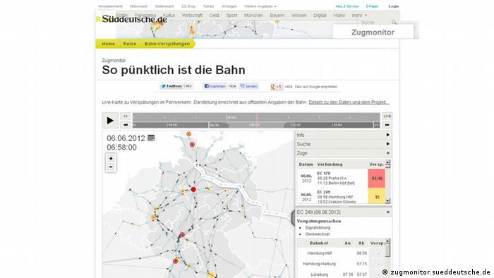 виртуальная карта Германии - проект Zugmonitor