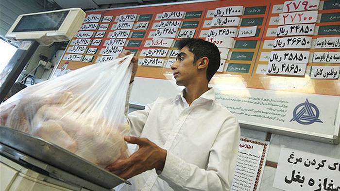 Innerhalb eines Jahres verteuerte sich das Hühnerfleisch im Iran um 20%. Quelle: MEHR Lizenz: Frei