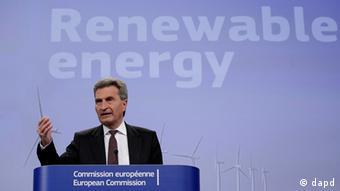 Günther Oettinger, comissário europeu de Energia, participou do projeto de lei sobre biocombustíveis