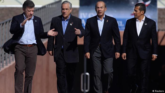 Juan Manuel Santos, Sebastián Piñera, Felipe Calderón y Ollanta Humala.