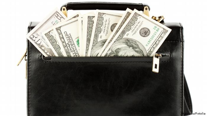 Money in a black briefcase