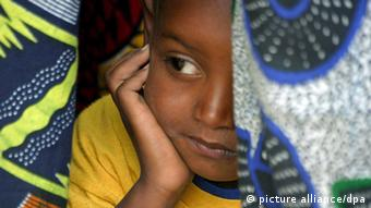 A young Senegalese girl at ceremony renouncing FGM