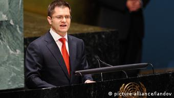 NEW YORK, June 8, 2012 (Xinhua) -- Serbian Foreign Minister Vuk Jeremic addresses the UN General Assembly after being elected as the president of the 67th Session of the UN General Assembly at the UN headquarters in New York, the United States, June 8, 2012. (Xinhua/Shen Hong) XINHUA /LANDOV