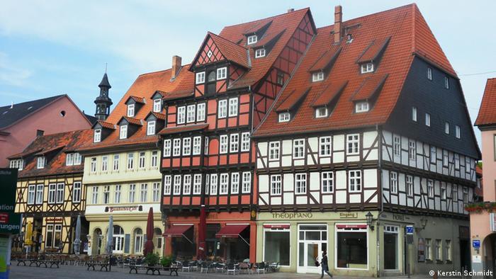Marktplatz Quedlinburg mit Fachwerkhäusern