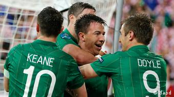 Ireland's Sean St. Ledger, center, celebrates with Robbie Keane, left, and Kevin Doyle after scoring during the Euro 2012 soccer championship Group C match between the Republic of Ireland and Croatia in Poznan, Poland, Sunday, June 10, 2012. (Photo: AP)