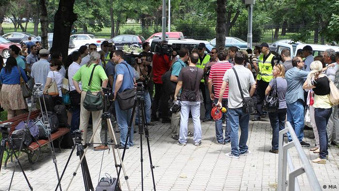 Protest Journalisten in Mazedonien