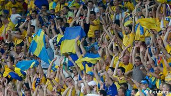 Fans at the Ukraine-Sweden match this summer in Kyiv