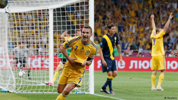 Ukraine's Andriy Shevchenko celebrates after he scored his team's second goal during the Euro 2012 soccer championship