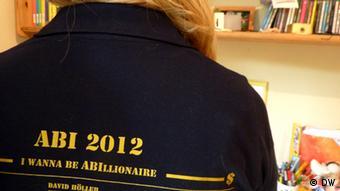 I wanna be ABIllionaire - das Motto des Abijahrgangs 2012 am Kardinal-Frings-Gymnasium Bonn. Vera Kern @ DW. Die Bilder dürfen nur innerhalb des vorhergesehenen Artikels verwendet werden. Nur in Absprache mit der Autorin, Vera Kern.