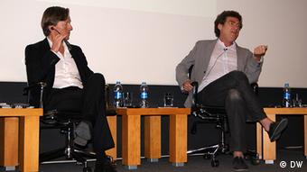 Gero Schliess and Cem Mansur at the panel discussion