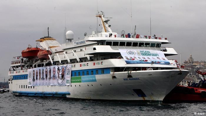 The Mavi Marmara ship, the lead boat of a flotilla headed to the Gaza Strip which was stormed by Israeli naval commandos in a predawn confrontation in the Mediterranean May 31, 2010, returns in Istanbul, Turkey, Sunday, Dec. 26, 2010. Thousands of pro-Palestinian activists on Sunday welcomed back to Istanbul the ship that was the scene of bloodshed during an Israeli raid on a Gaza-bound aid flotilla in May. Activists meanwhile, promised to send more ships in an effort to break the Gaza blockade. (ddp images/AP Photo/Burhan Ozbilici)