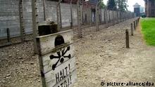 Stacheldraht und ein STOP-Schild im ehemaligen Konzentrationslager Auschwitz (hier Auschwitz II Birkenau) in Polen, aufgenommen 2006. In dieses größte Vernichtungslager in der Zeit des Nationalsozialismus wurden mehr als 1,3 Milionen Menschen aus ganz Europa deportiert und schätzungsweise 1,1 Millionen ermordet. Foto: Ulrich Hässler +++(c) dpa - Report+++