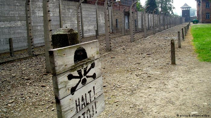 A halt sign in front of Auschwitz concentration camp