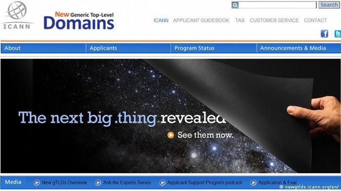 Скриншот сайта ICANN