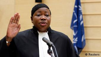 ICC chief prosecuto Fatou Bensouda in her official robes at the International Criminal Court