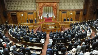 The opening ceremony of a 150-day regular Diet session is held in the presence of Emperor Akihito (center, back) at the main hall of the House of Councillors in Tokyo on Jan. 24, 2012 (Photo: Kyodo)