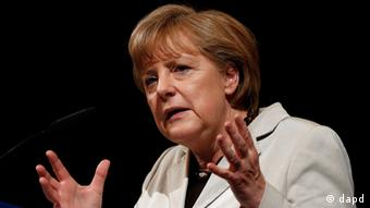Bundeskanzlerin Angela Merkel (CDU) spricht am Samstag (16.06.12) auf dem 104. Landesparteitag der CDU Hessen in Darmstadt. Foto: Mario Vedder/dapd