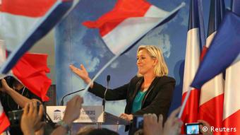 Marine Le Pen reacts as she speaks with supporters in Henin-Beaumont June 2012 Copyright: REUTERS/Jean-Yves Bonvarlet