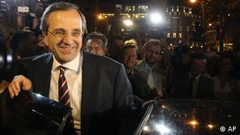 Der Führer der Neo Dimokratia (ND), Antonis Samaras Foto: Petros Karadjias (AP)