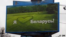 Plakat mit Propaganda in Minsk Weißrussland