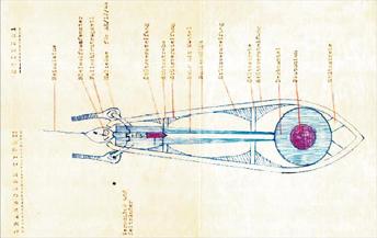 Schematische Darstelllung der Atombombe die Hitler bauen wollte Zeichnung