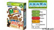 Nestlé-Frühstücksflocken mit GDA und Ampel foodwatch hat für 32 Produkte der Initiative Ausgezeichnet informiert die aktuelle GDA-Kennzeichnung und eine selbst erstellte Ampelkennzeichnung (Muster) gegenübergestellt. Quelle: Foodwatch