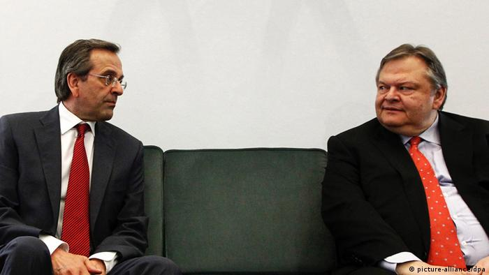 New Democracy leader Antonis Samaras and Greek Socialist party (PASOK) leader Evangelos Venizelos