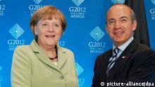 Bundeskanzlerin Angela Merkel (CDU) und der mexikanische Präsident Felipe Calderon treffen am Montag (18.06.2012) in Los Cabos, Mexiko, zusammen. Am 18. und 19.06.2012 findet in dem exklusiven Badeort am Pazifik der diesjährige G20-Gipfel statt. Foto: Peer Grimm dpa