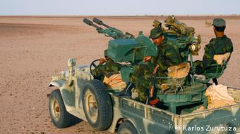 Polisario men in their armed pick ups, in the Liberated Territories