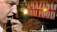 Australian tourist Peter Crago from South Australia tastes fried worms at the Amazing Thai Food cart on one of Bangkok's bar girl streets Sukhumvit Soi 4 which sells crunchy insects in Bangkok, Thailand, 27 September 2005. The crunchy snacks are popular among late night party animals and bar girls and provide high protein in a crunchy bite. Tastes differ across the world and what one culture considers unappetising, even dangerous and unimaginable for consumption, another culture finds a delicious delicacy. Foto: UDO WEITZ +++(c) dpa - Report+++