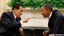 باراک اوباما (راست) و حسنی مبارک، رئیس جمهور مخلوع مصر (سپتامبر ۲۰۱۰).