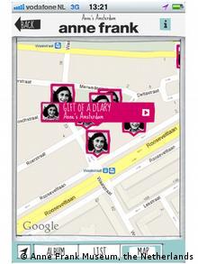 Imágenes históricas e información sobre Ana Frank y el Holocausto se pueden descargar vía app.