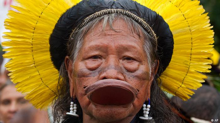 Kayapo tribal leader Raoni Metuktire attends a protest in Rio de Janeiro, Brazil