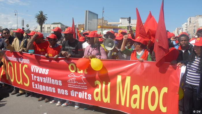 African migrants demonstrate on the the streets of Rabat