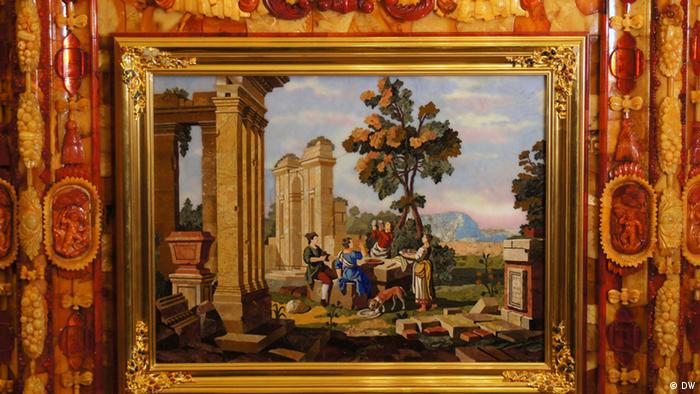 Quadro e moldura são parte do legendário Salão de Âmbar